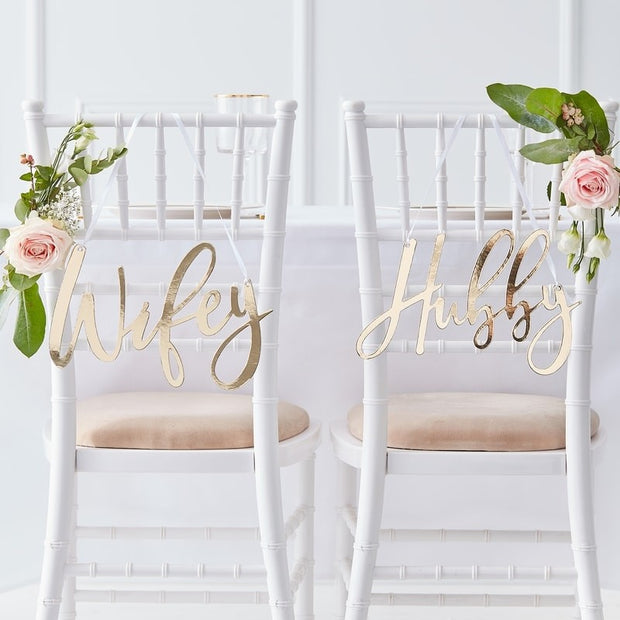 Gold Hubby and Wifey Chair Signs - HoorayDays
