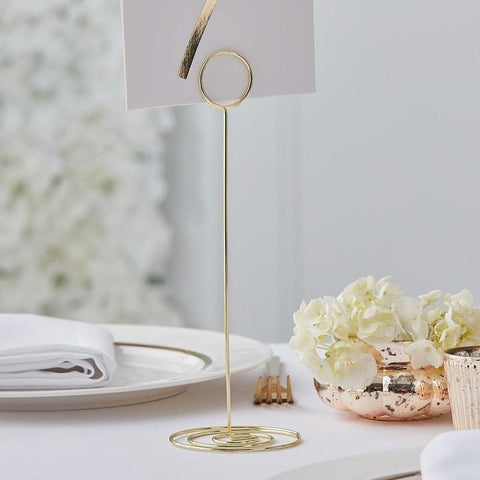 1 Gold Metal Table Number Holder - HoorayDays