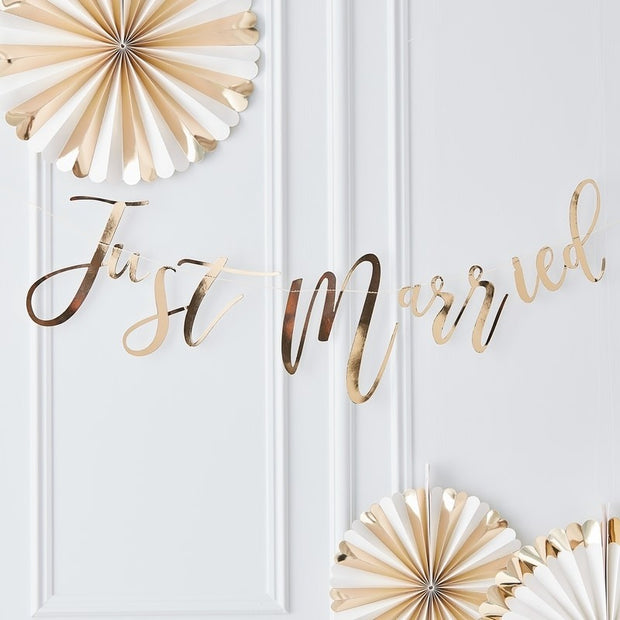 Gold Just Married Bunting - HoorayDays