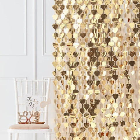Gold Heart Backdrop Photo Props