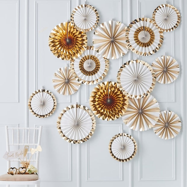Gold Fan Decorations Party Backdrop - HoorayDays