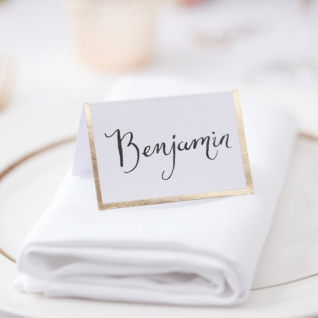 Gold Boarder Place Cards - HoorayDays