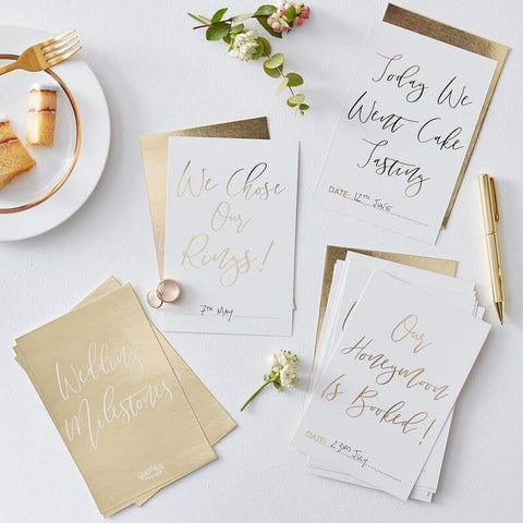 24 Gold Wedding Milestone Cards - HoorayDays