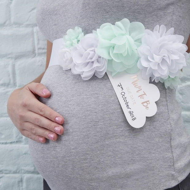 Mint and White Mother To Be Sash - HoorayDays