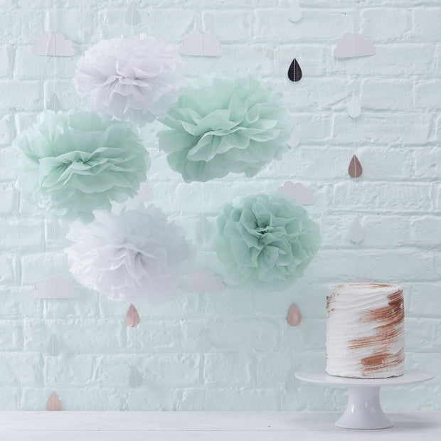 5 White and Mint Paper Pom Poms - HoorayDays