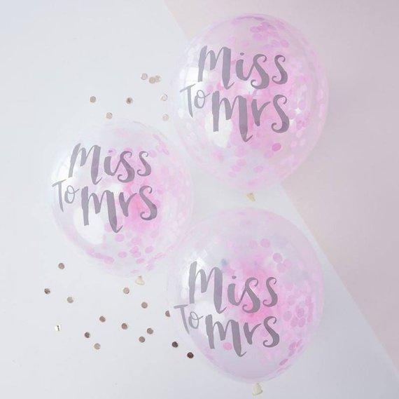 5 Miss to Mrs Pink Confetti Balloons - HoorayDays