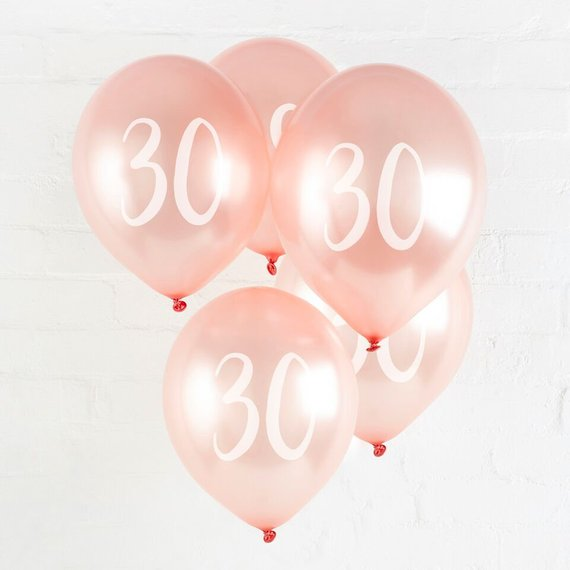 5 Rose Gold 30th Balloons - HoorayDays