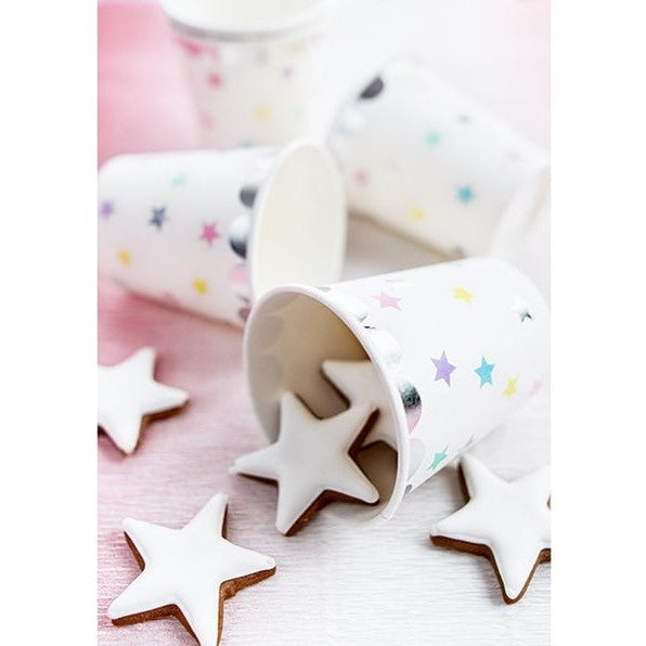 6 Silver Star Unicorn Party Cups - HoorayDays