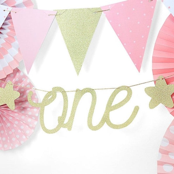Gold Glitter One Bunting - HoorayDays