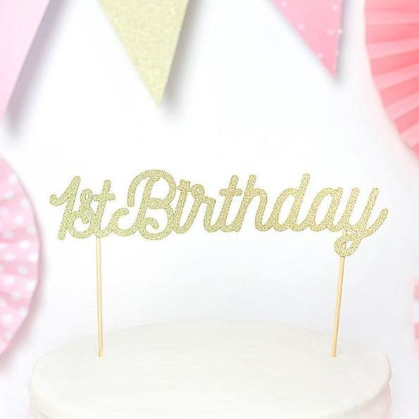 1 Gold 1st Birthday Cake Topper - HoorayDays