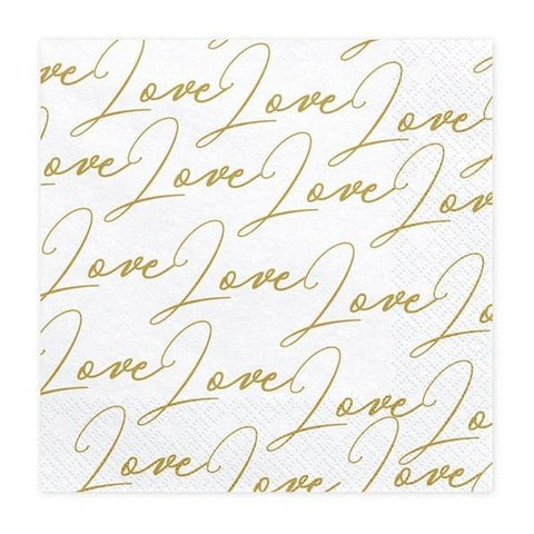 20 Gold Love Napkins - HoorayDays