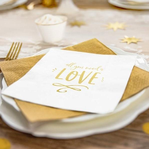 20 Gold All You Need Is Love Napkins - HoorayDays