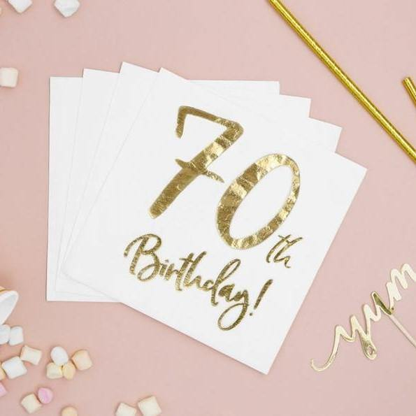 20 Gold 70th Birthday Napkins - HoorayDays