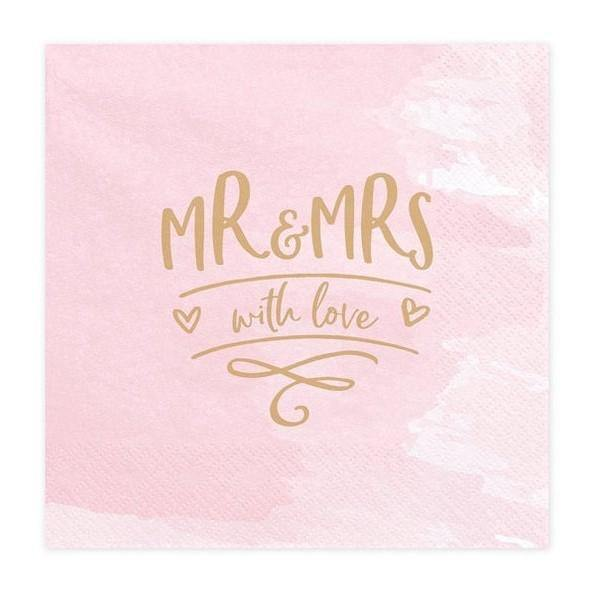 20 Pink and Gold Mr & Mrs Napkins - HoorayDays