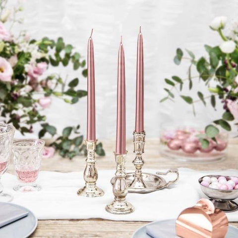 3 Rose Gold Taper Candles - HoorayDays