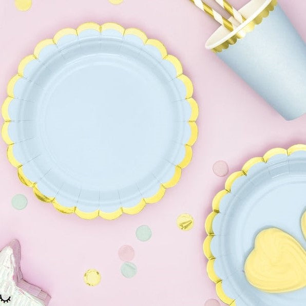 6 Light Blue and Gold Party Plates - HoorayDays