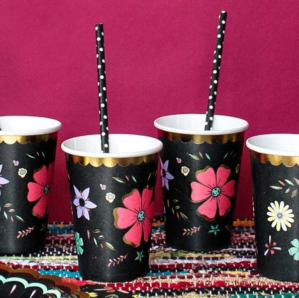 6 Floral Party Cups - HoorayDays