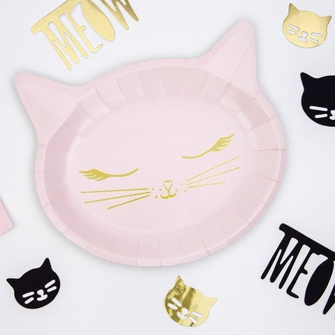 6 Cat Party Plates - HoorayDays