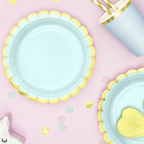 6 Mint Green Gold Party Plates - HoorayDays