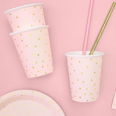 6 Light Pink Gold Dot Party Cups - HoorayDays