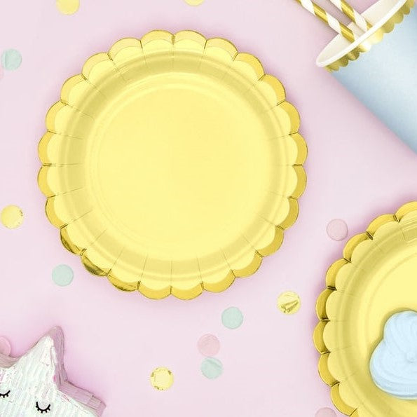 6 Lemon Yellow and Gold Party Plates - HoorayDays