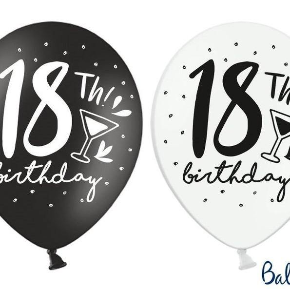 10 Black White 18th Birthday Balloons - HoorayDays