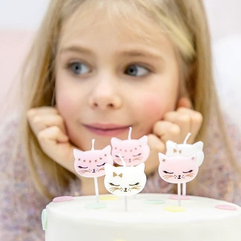 6 Cat Party Candles - HoorayDays