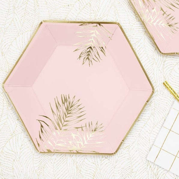 6 Light Pink Gold Leaf Party Plates - HoorayDays