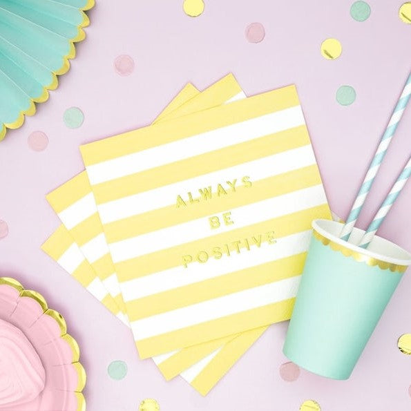 6 Lemon Yellow and Gold Stripe Napkins - HoorayDays
