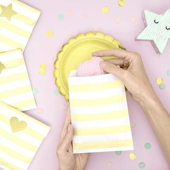 6 Lemon Yellow Party Bags - HoorayDays