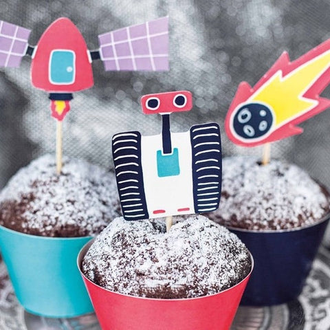 6 Space Cupcake Toppers and Wrappers - HoorayDays