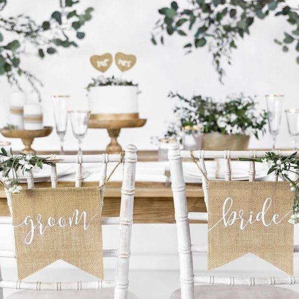 Hessian Bride and Groom Chair Signs - HoorayDays