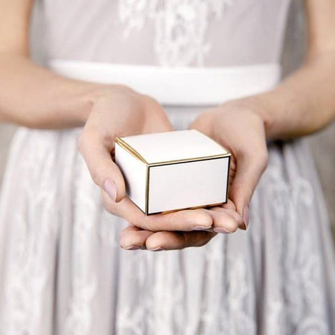10 Gold Edge Favour Boxes - HoorayDays
