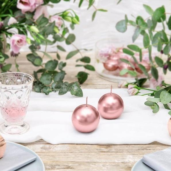 1 Rose Gold Sphere Candle - HoorayDays