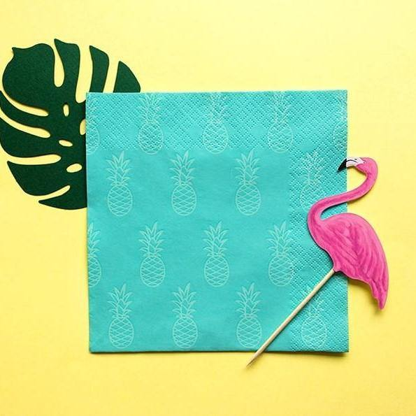 20 Tropical Party Pineapple Napkins - HoorayDays