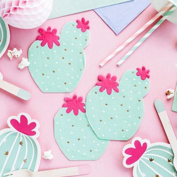 20 Mint and Pink Cactus Napkins - HoorayDays