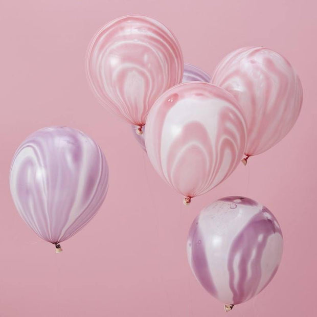10 Pink and Purple Marble Effect Balloons - HoorayDays