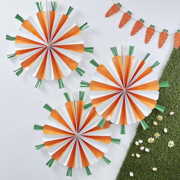 3 Orange Carrot Easter Paper Fans - HoorayDays
