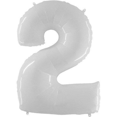 40 Inch White Number 2 Balloon - HoorayDays
