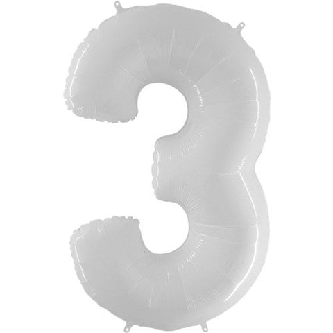 40 Inch White Number 3 Balloon - HoorayDays