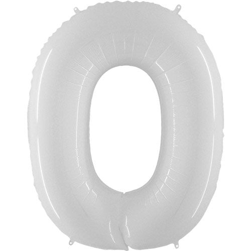 40 Inch White Number 0 Balloon - HoorayDays