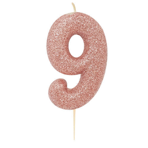 Number 9 Rose Gold Glitter Candle - HoorayDays