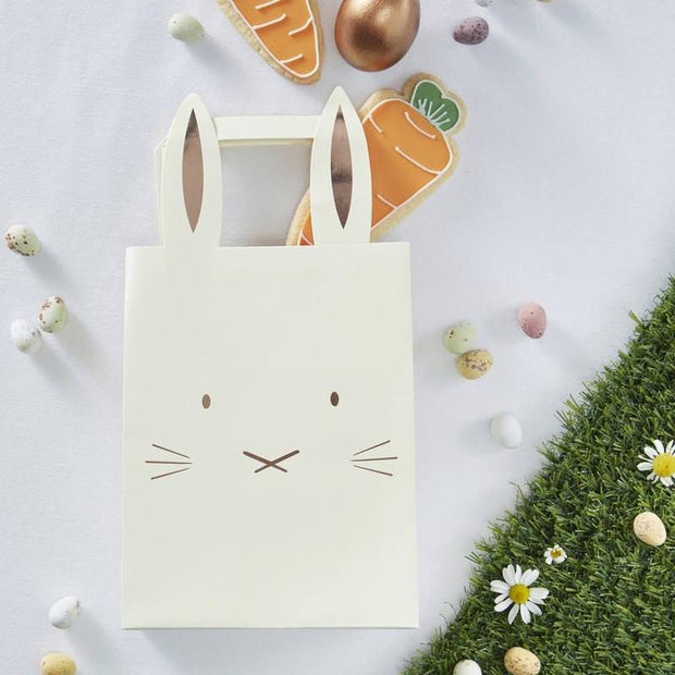 5 Rose Gold Bunny Party Bags - HoorayDays