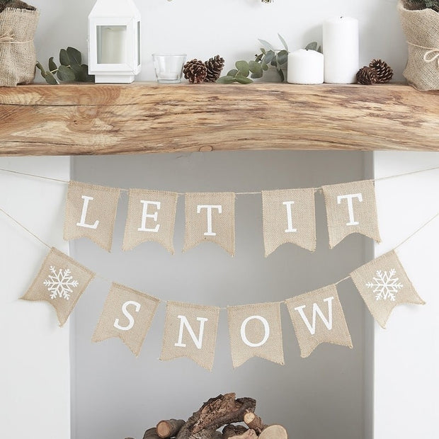 Let It Snow Hessian Christmas Bunting - HoorayDays