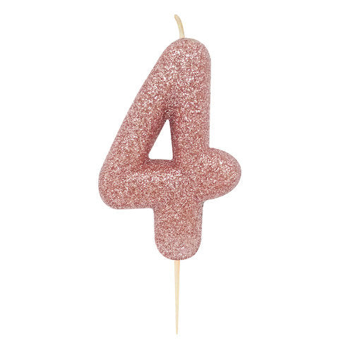 Number 4 Rose Gold Glitter Candle - HoorayDays
