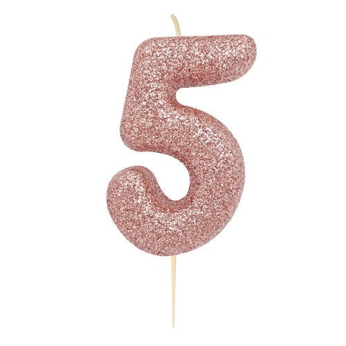 Number 5 Rose Gold Glitter Candle - HoorayDays