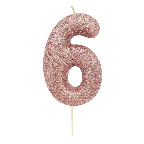 Number 6 Rose Gold Glitter Candle - HoorayDays