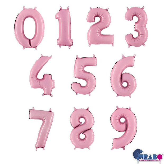 14 inch Pastel Pink Number Balloons - HoorayDays