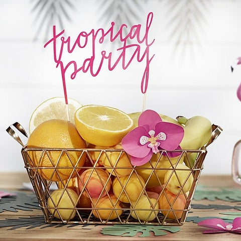 Pink Tropical Party Cake Topper - HoorayDays