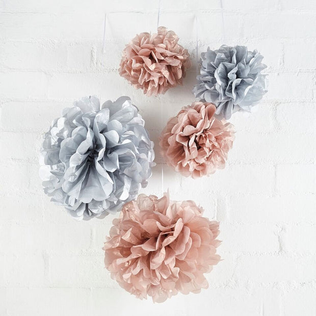 5 Rose Gold and Silver Pom Poms - HoorayDays